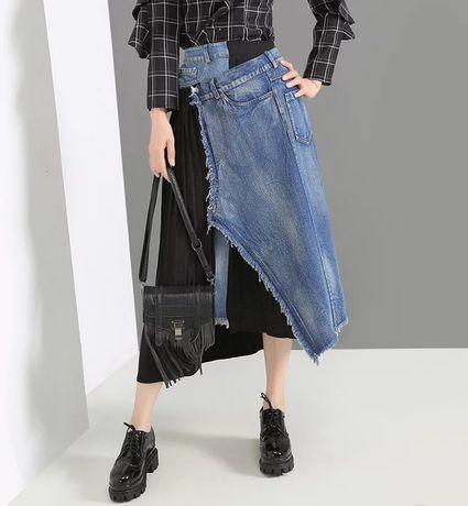 Jeansowa spódnica asymetryczna mega hit z wybiegu plisowana