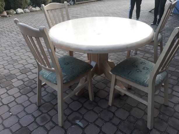 Stół okrągły i 4 krzesła