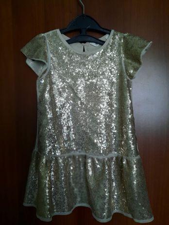 нарядное платье.золотая пайетка 92-100 см