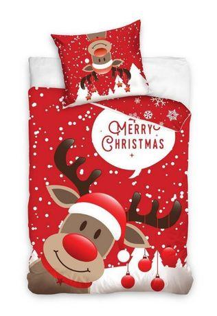Pościel świąteczna MERRY CHRISTMAS 160x200 bawełna na prezent