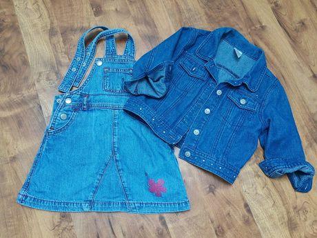 Kurtka i sukienka jeansowa 92 komplet