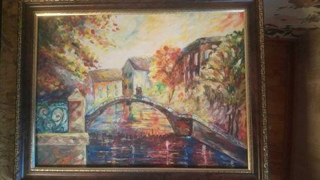 Картина влюбленые на мосту. Венеция.