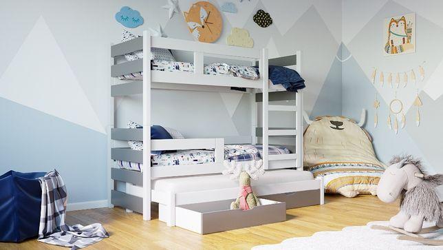 Łóżko piętrowe NOEMI 3 z wysuwanym spaniem + 3x materac GRATIS