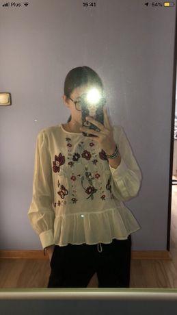 Kremowa koszula w kwiaty z falbankami NOWA ZARA XS
