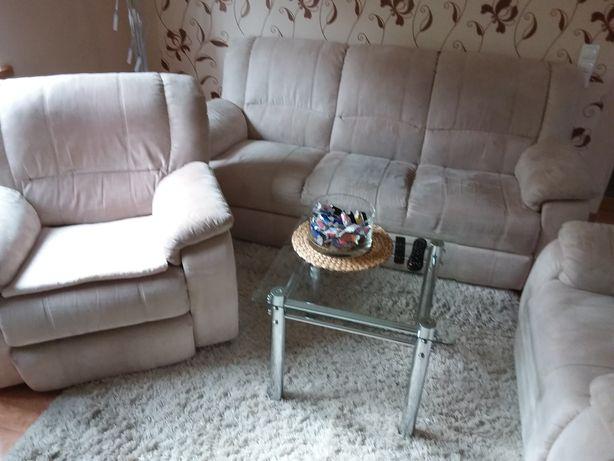 Komplet wypoczynkowy,sofa,fotel relax,alcantara,