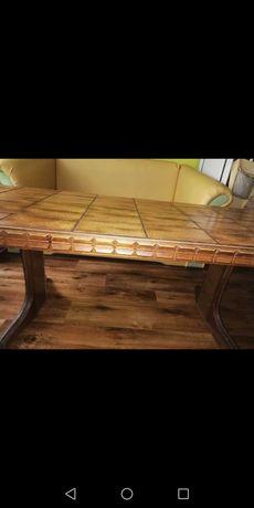 Ława drewniana z blatem z płytek