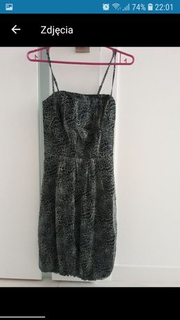 Sukienka ramiączka regulowane odkryte plecy panterka Reserved S 36