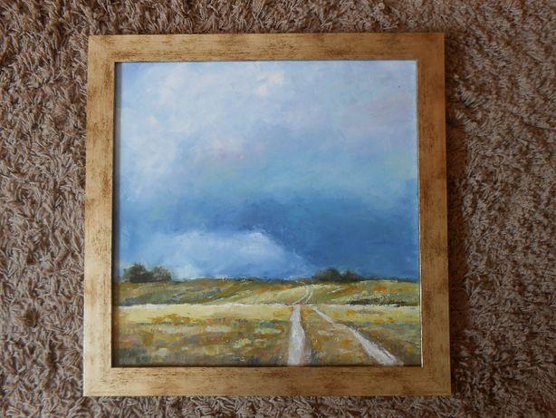 Droga do chmur. Obraz olejny na płótnie 50 X 50 cm