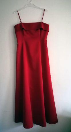 GINA BACCONI czerwona suknia wieczorowa z szalem L