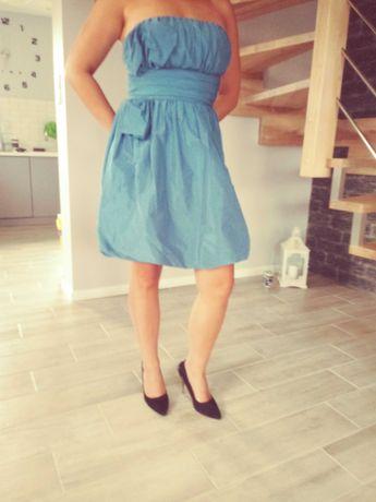 Sukienka chabrowa, krótka