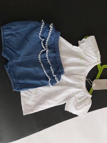 Zestaw dla dziewczynki bluzeczka hiszpanka spodenki bloomersy 92-98