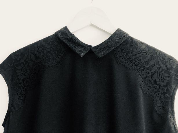 Czarna bluzeczka Mohito z koronką L