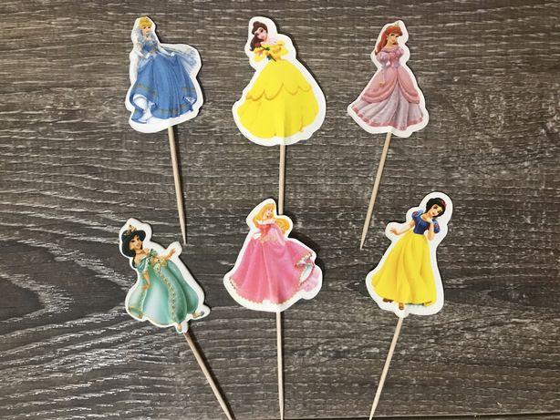 """Топперы для украшения торта на день рождения """"Принцессы Disney"""""""