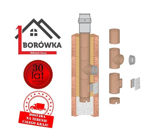 Komin systemowy ceramiczny 8m KW Fi 180/200 Standard NAJLEPSZA JAKOŚĆ