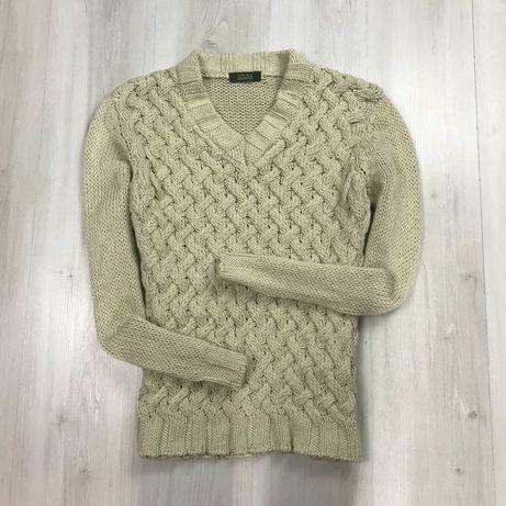 M-L Джемпер Zara белый винтажный вязаный пуловер кофта свитер кардиган