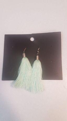 Nowe kolczyki chwosty H&M miętowe zielone turkusowe