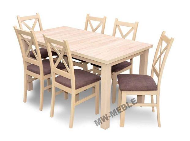 PROMOCJA! Zestaw KRZYŻAK Stół Rozkładany + 6 Krzeseł Dąb Sonoma!
