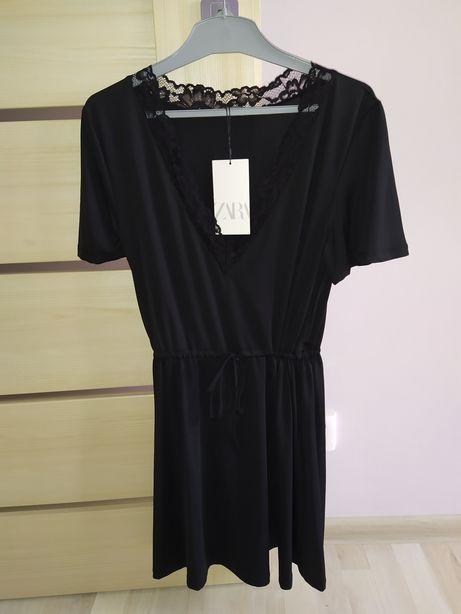Sukienka mała czarna z koronką ZARA r M, NOWA