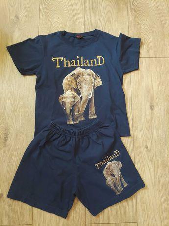 Komplet chłopięcy bawełn 134 cm bluzeczka + spodenki Tajlandia używany