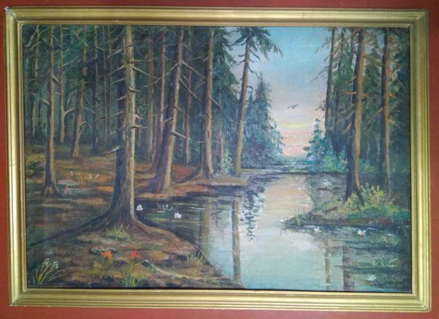 """Пейзаж """"Лесная река"""" - картина 19 века с историей, художник С.Оплеталь"""