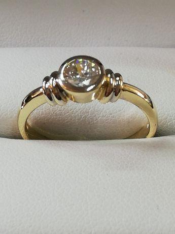 WŁOSKI Brylantowy złoty pierścionek. MOCNY solidny