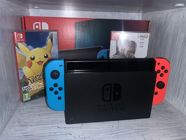 Nintendo Switch V2 + 15 mies gwarancji + 3 Gry Stan Idealny
