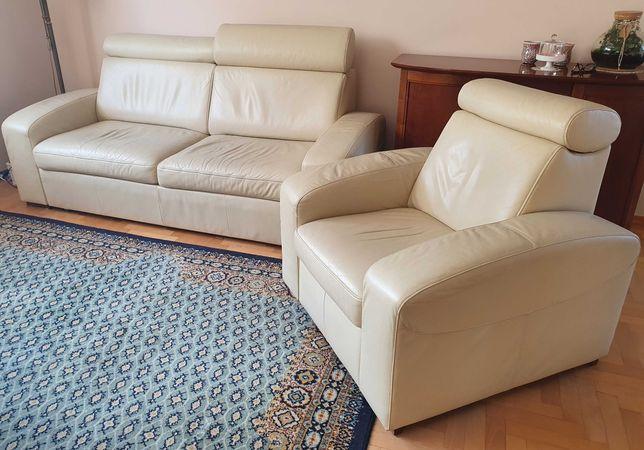 Zestaw mebli skórzanych - kanapa + 2 fotele