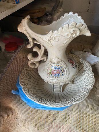 Jarro e bacia em ceramica anos 50 Art Deco
