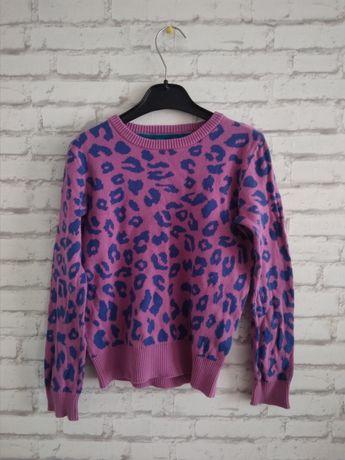 sweterek 134 w panterke różowy bluza dla dziewczynki