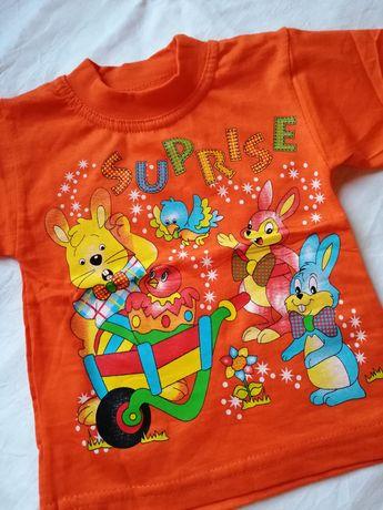 Футболка детская, яркий принт, оранжевая футболочка