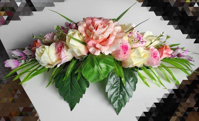 Dekoracja, stroik na stół, sztuczne kwiaty