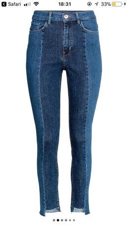 H&M spodnie dżinsy jeansy z wysokim stanem wysoki stan dwukolorowe L