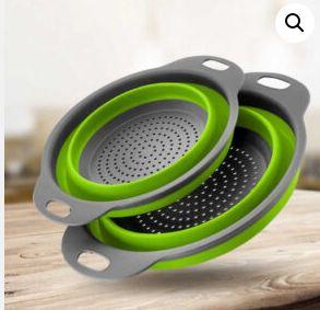 Дуршлаг складной COLLAPSIBLE FILTER BASKETS (силиконовый, зеленый)