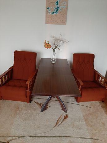 Ława + 2 fotele w kolorze brązowym