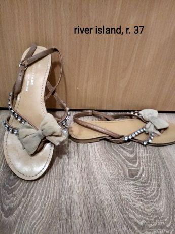 Sandały beżowe, z kokardką, 37