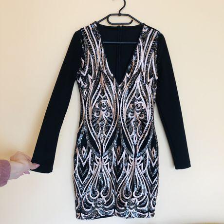 Czarna sukienka zdobienia Zara głęboki dekolt V-neck wieczorowa sukien