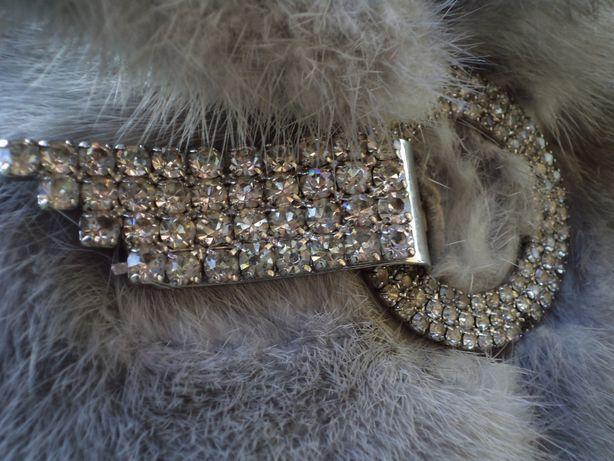Luksusowe srebrne futro z norek długie