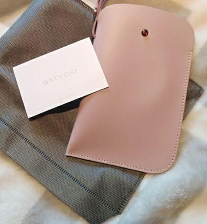 Nowe Etui na telefon okulary Batycki pudrowy róż skóra!!