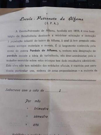boletim de inscrição  da escola do patronato de alfama
