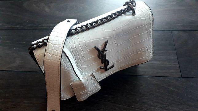 Torebka krokodyl biała YSL laurent logowana srebrne okucia