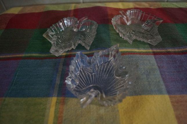 Conjunto 3 peças em vidro com formato de folha
