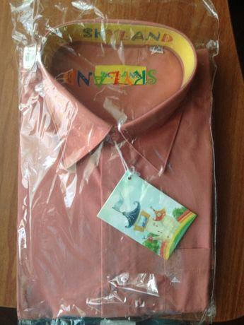 НОВАЯ рубашка светло-кофейного цвета в упаковке на парня 12-14 лет