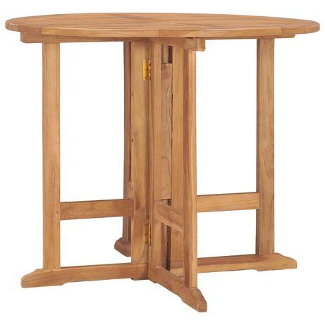 vidaXL Mesa de jantar para jardim dobrável Ø90x75 cm teca maciça 315446