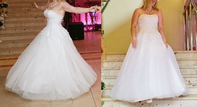 Suknia ślubna L 40 XL 42 biała koronka princessa księżniczka