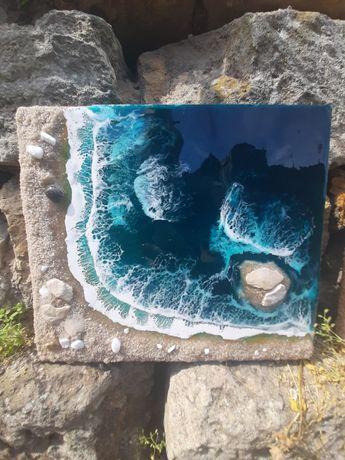 Интерьерная картина море лагуна лофт скандинавский стиль смола подарок