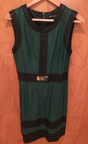Vestido de Couro Preto e Verde