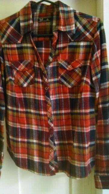 Koszula flanelowa w czerwoną kratę rozmiar M firma Troll