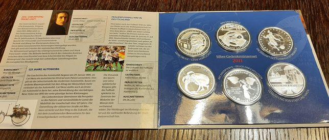 Zestaw monet okolicznościowych srebrnych 6 x 10 euro z 2011 roku