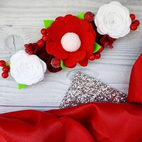 Веночек. повязка, ободок с цветами из фетра под вышиванку