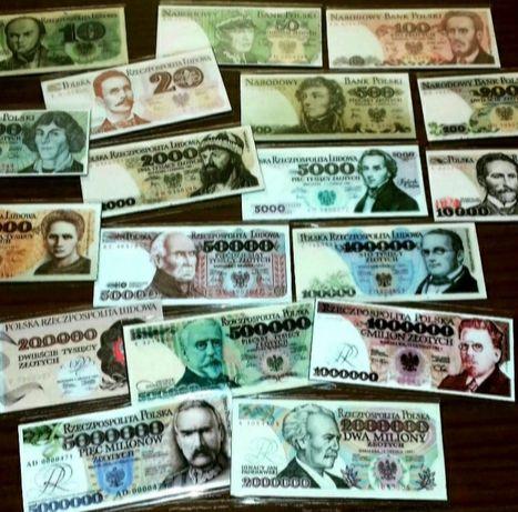 Banknoty PRL 18szt zestaw magnesow na lodówkę 4x7cm 50zl komplet